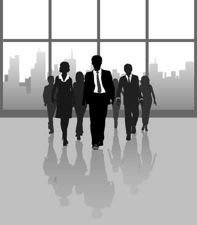 Business working team people approach under building concourse windows  Vector