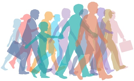 to go: Colorful crowd of people group silhouettes walk forward together