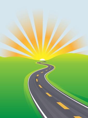 Curvatura autostrada per viaggiare attraverso una terra verde ad un alba o il tramonto all'orizzonte
