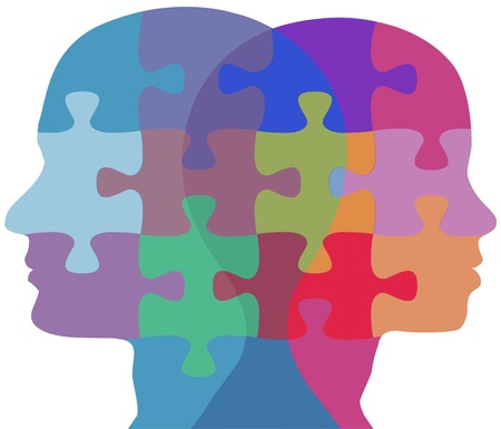 Man and Woman profiles face opposite ways in couple problem jigsaw puzzle Vector