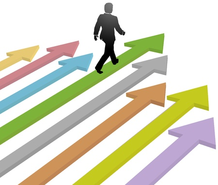 onward: Business person leader walks to progress future on colorful arrows Illustration