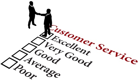 Business people handshake agreement to provide excellent customer service Vector