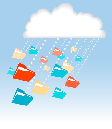 Data in file folders rain or snow downloads from cloud computing technology Vector