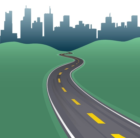 Highway path curves toward city buildings urban skyline Иллюстрация