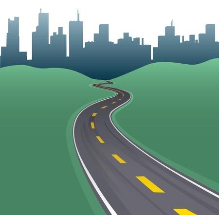 Las curvas de la carretera camino hacia la ciudad edificios horizonte urbano