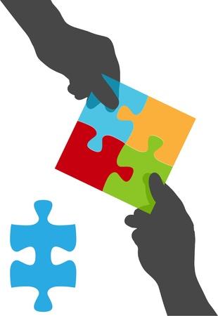 Twee mensen werken aan een oplossing voor een vier stukje puzzel zakelijk probleem