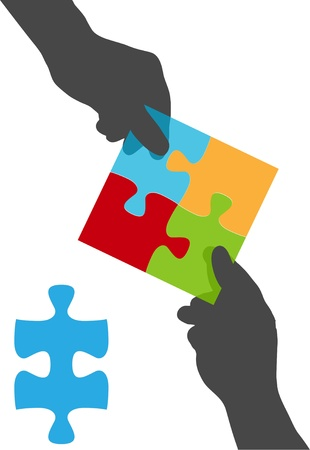 Two people collaborate on a solution to a four piece jigsaw puzzle business problem Vector
