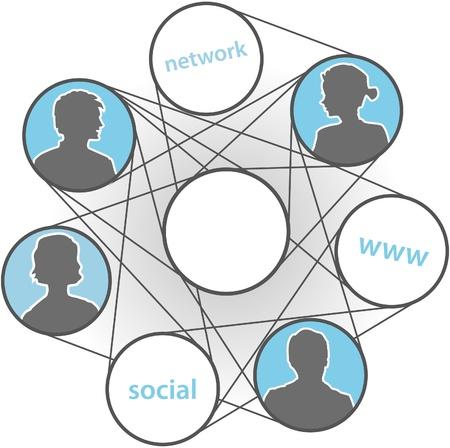 사람들은 사람들은 WWW 연결에 참여 소셜 미디어 네트워크 일러스트