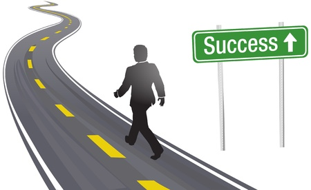 achieve goal: Business person walks past Success sign on winding highway to future progress Illustration
