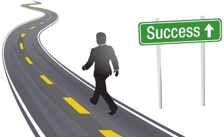 Ondernemer loopt langs Succes teken op bochtige snelweg naar de toekomst vooruitgang Vector Illustratie