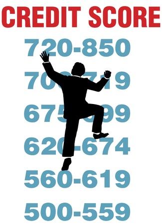 cr�dito: Persona de negocios escalada informe de cr�dito para obtener mejores puntajes de calificaci�n