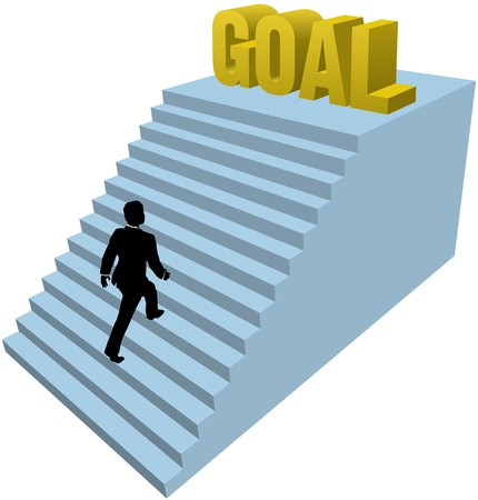 achieve goal: Business man climbs up stair steps to achieve success goal