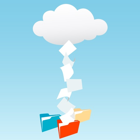 rain cloud: Data files from cloud computing technology streaming into file folders