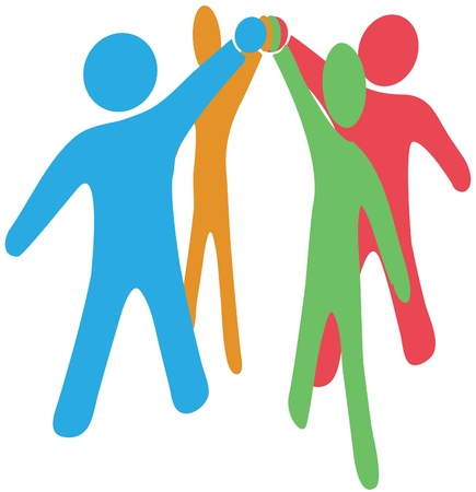joining together: People team up join hands together to collaborate or celebrate