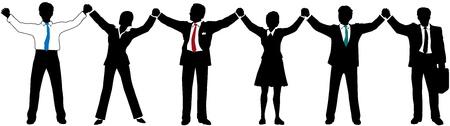 Rij van Business mensen line-up en samen te voegen opgeheven handen