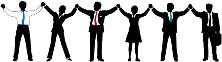 happy employees: Row of Business people line up and join raised hands together Illustration