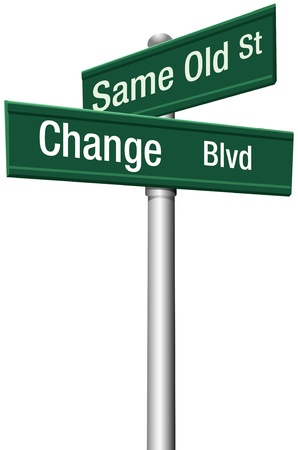 change concept: Decide to go the same old way to change and choose a new path and direction