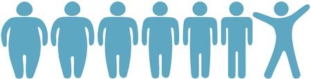 Rij van voor en na het vet fitness gewichtsverlies symbool mensen