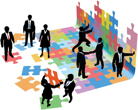 Business people collaborate to put pieces together find solution to puzzle and build startup Illustration
