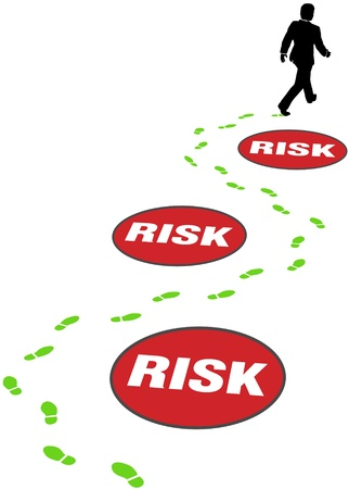 safely: Risk management business person walks safely through path of security risks