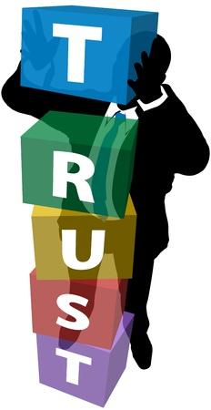 신뢰할 수있는 비즈니스 매니저는 강한 기초에 고객의 신뢰를 구축하기 위해 노력하고 스톡 콘텐츠 - 11841331