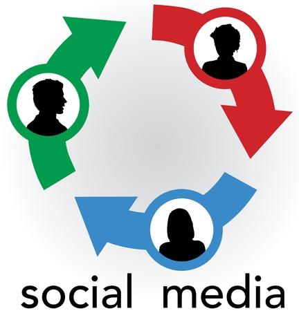 矢印の接続リンク社会的なメディア ネットワークの友情の輪で人々 のシルエット  イラスト・ベクター素材