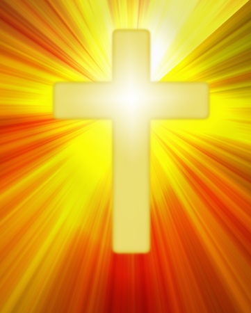 Golden radiant cross symbol shining on a background of bright rays