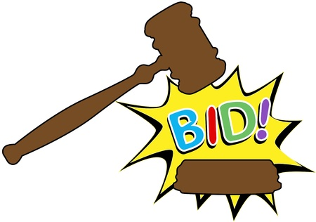 auctioning: Online auction bid gavel hits stand to end sale in cartoon style icon