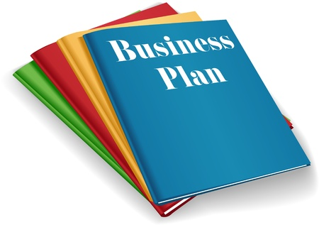 Stack of plans for business startup models in colorful folders