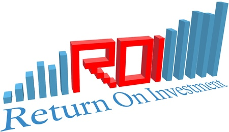 ROI Return on Investment acronym word letters in a business bar chart 일러스트
