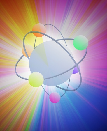 particle: High energy atom burst on bright rays as symbol of atomic particle physics