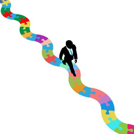 puzzelen: Zakelijk persoon loopt op bochtige pad op zoek naar een oplossing voor een puzzel probleem Stock Illustratie