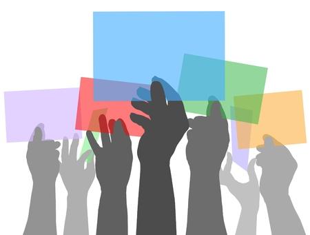 mucha gente: Muchas personas sostienen coloridas tarjetas de espacio de la copia en sus manos