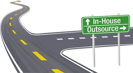 Highway sign as symbol of Outsource InHouse business supply chain decision