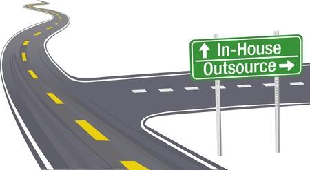 cruce de caminos: Muestra de la carretera como s�mbolo de Outsourcing de negocios InHouse decisi�n de la cadena de suministro