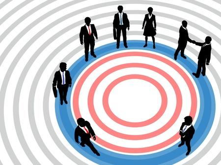 기업 비즈니스 임원의 사람들이 마케팅 대상의 동심원을 목표로