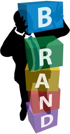 Persona de negocios de construcción de fidelización de clientes para un producto de la identidad de marca fuerte