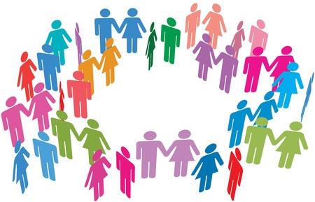 Couples and singles meet in dating social media network circle around center copy space Vector