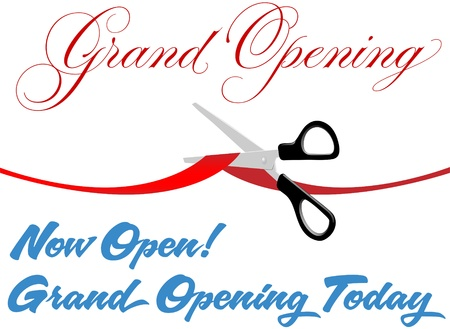 today: Pair of scissors cut red Grand Opening ribbon border at ceremony to open new store or website