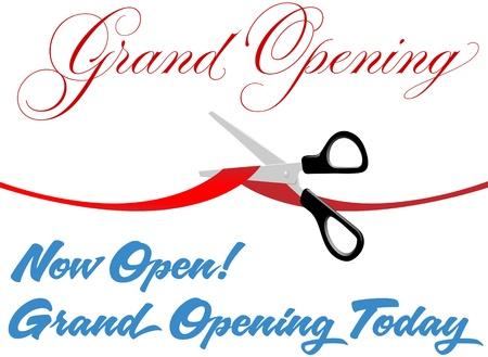 er�ffnung: Schere schneiden rot Grand Opening Band Grenze bei Festakt zum neuen Shop oder eine Website �ffnen