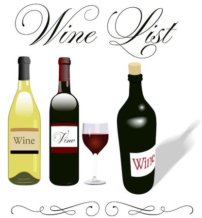 레스토랑 메뉴의 와인 병 및 글라스의 표제 장식 및 스타일