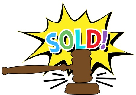auctioning: Online auction bid gavel hits stand to end sale in SOLD cartoon style icon Illustration