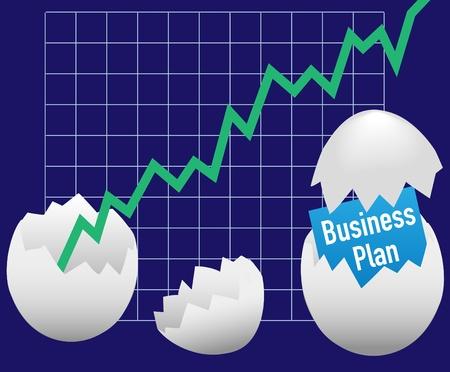 ビジネス卵ハッチ開始計画のためのオープン成長売上のグラフ  イラスト・ベクター素材