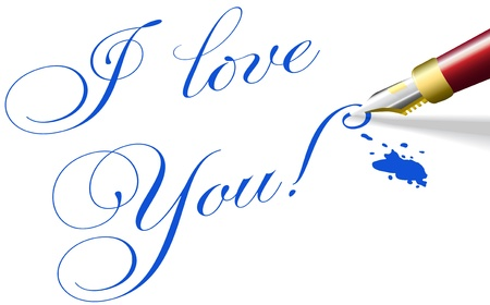 romantic: Red fountain pen writes I love You romantic words in blue ink Illustration