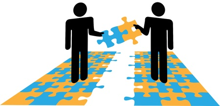 Two people collaborate to join parts solve a business or personal puzzle problem Vector
