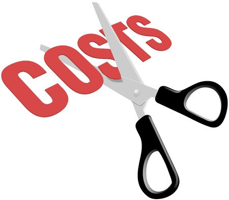 cost: Pair of scissors cuts business expense word COSTS in half to save money