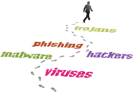 safely: Security business man walking a path safely avoids virus malware threat