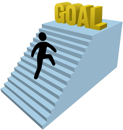 achieve goal:  Person climbs stair steps to achieve success goal