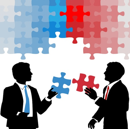 red puzzle piece: Two business people hold partnership collaboration puzzle solution