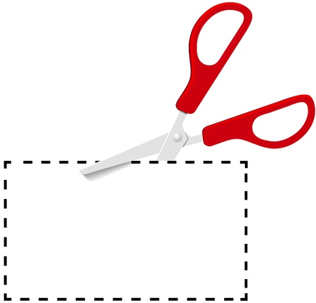 Pair of red utility scissors cut out coupon copy space on dotted line Vector